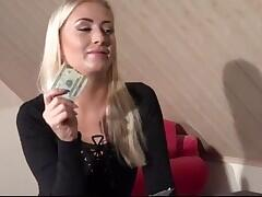 Blond gets fucked after loosing in strop poker